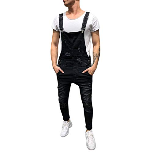 Overall Herren,Lässige Jumpsuit Jeans Wash gebrochene Hose Hosenträgerhose Latz Jeans Lange Hose Loose Fit Latzhose Jeanslatzhose (Schwarz,M)