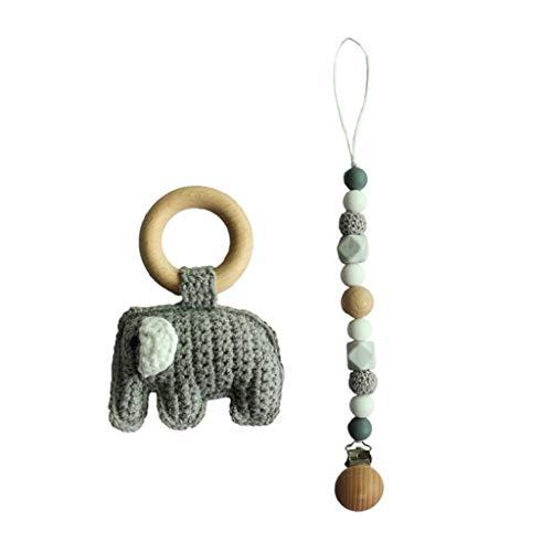 Chenggong Cadena para chupete con cuentas de silicona, pulsera de ganchillo, elefante, anillo de madera, juguete para morder