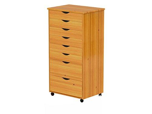 ADEPTUS 76154 8 Drawer Wide Roll Cart, Medium Pine