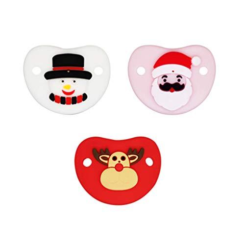 Toyvian 3 Stücke Silikon Baby Schnuller Schneemann Weihnachtsmann Elch Beißring Weihnachten Kinderkrankheiten Spielzeug Baby Weihnachtsgeschenke für Neugeborene Mädchen Jungen