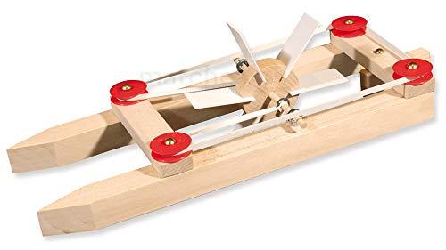 matches21 Katamaran Boot Modell Holz Schiff mit Gummimotor Bausatz f. Kinder Werkset Bastelset Holzbausatz ab 9 Jahren
