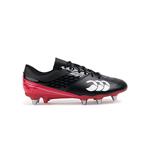 Canterbury of New Zealand Phoenix Raze Soft Ground Zapatillas de rugby Hombre,  Negro (Black/ True Red 989), 43 EU