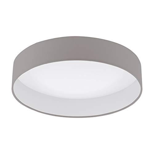 EGLO LED Deckenlampe dimmbar Palomaro 1, Deckenleuchte Stoff, Wohnzimmerlampe aus Textil, Kunststoff, Farbe: taupe, weiß, Ø: 40,5 cm