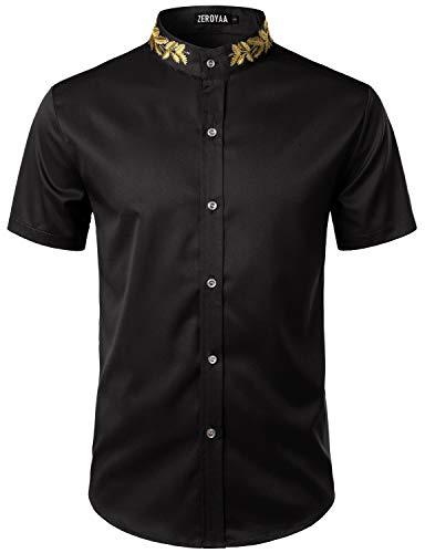 ZEROYAA Mens Hipster Gold Embroidery Mandarin Collar Slim Fit Short Sleeve Casual Dress Shirts Z79 Black X-Large