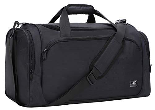 MIER 21Inch Sports Gym Bag with Wet Pocket Travel Duffel Bag for Men Women,Black