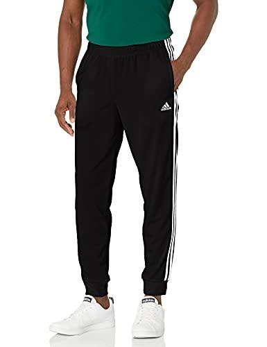 adidas Men's Standard Essentials Warm-Up Slim Tapered 3-Stripes Tracksuit Bottoms, Black/White, Medium