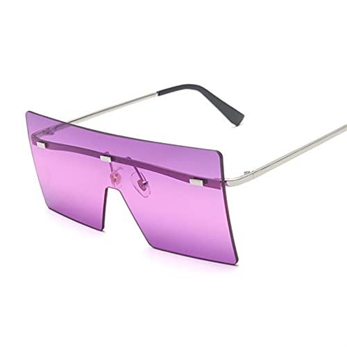 HSCDQ Vintage Square Gafas De Sol Mujeres Siamese Oversized Sun Gafas para Mujeres Marca De Lujo Lente Océano Rimless Big Shades Oculos De Sol exc.tq (Lenses Color : 12)