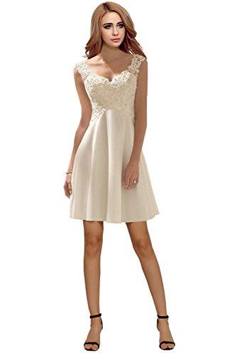 Milano Bride Elegant V-Ausschnitt Spitze Chiffon Hochzeitskleider Brautkleider Brautmode Damen Festkleider Rueckenfrei -38-Elfenbein Kurz