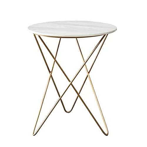 Mesa de café simple de hierro forjado de mármol pequeña mesa de café creativa mini redonda pequeña mesa auxiliar para dormitorio, oficina, sala de estar y zona de ocio (tamaño: 50 x 62 cm)