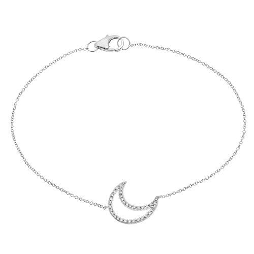 Naava vrouwen 9 ct wit goud Pave Set diamant maan armband van 17,8 cm