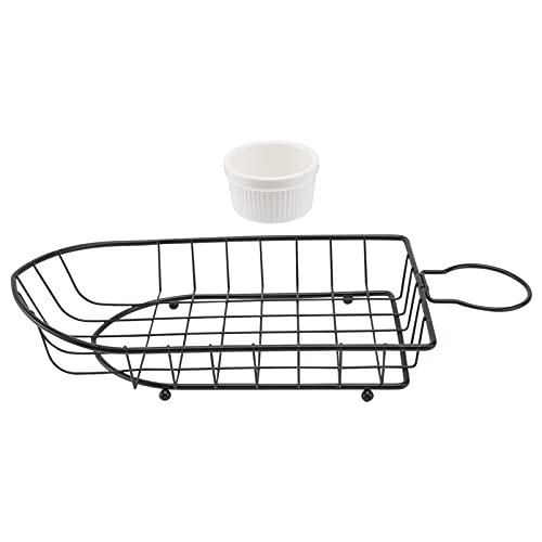 DOITOOL Fast Food Basket Mini French Fries Basket with Sauce Dish Fried Food Filter for Parties Fairs Picnics Carnivals Black