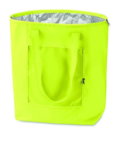 PromotionGift - Nevera plegable reutilizable, bolsa de playa y de compras ligera y duradera, con forro interior de aluminio para una perfecta función de refrigeración (amarillo ácido)