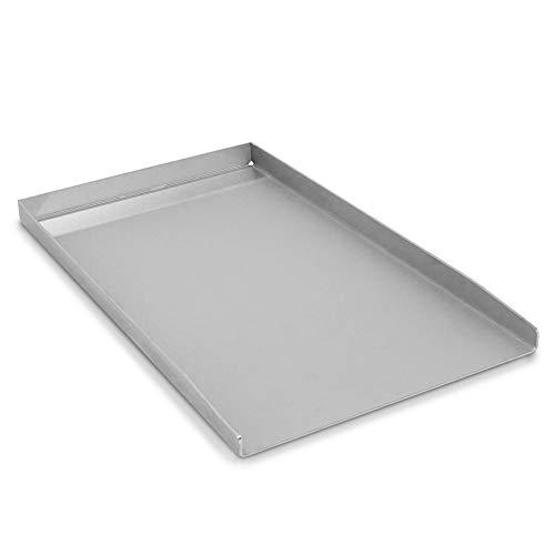 tradeNX Plancha de acero inoxidable – Plancha maciza y accesorios de barbacoa para asar carne, pescado, verduras y frutas – 44,5 x 26 cm