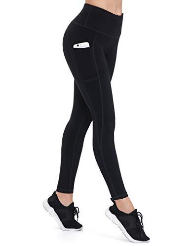 ALONG FIT Leggings Damen mit Taschen, Nicht durchsichtig Sporthose Damen Dehnbar Yogahosen für Damen, Schwarz, S