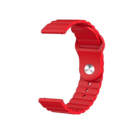 Flyuzi 20mm Silicone Strap For Samsung Galaxy Watch Active 2 For Huawei Watch GT 2 For Honor Magic Watch 2 Amazfit BIP GTS GTR Gear Sport Band (Band Color : Red, Band Width : 22mm)