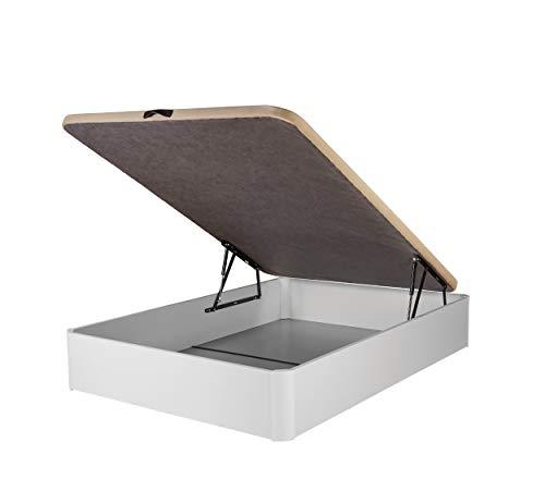 DHOME Canape Abatible Tapizado 3D Grosor 30mm 4 válvulas Maxima Calidad Esquinas canapé Madera (150x190, Blanco)