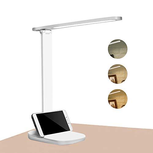 LED Schreibtischlampe,Tischleuchte Dimmbar Tischlampe mit USB-Aufladung,3 Farb und 3 Helligkeitsstufen,Touch-Bedienung,Tragbar,Augenschutz Nachttischlampe für Büro,Lesen, Studieren
