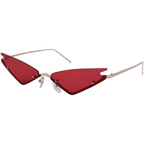 Fltaheroo Gafas de sol de ojo pequeño para mujer de medio marco rojo espejo gafas de sol mujer triple esquina gafas sombras hombres UV400 (rojo)