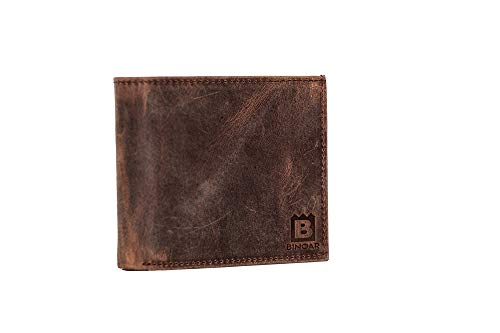 BINOAR Iyad Herren Leder Portemonnaie Geldbörse echtes Leder Geldbeutel Hand Made -Braun Brieftasche Herrengeldbeutel Büffellder Ledergeldbeutel Ledergeldbörse