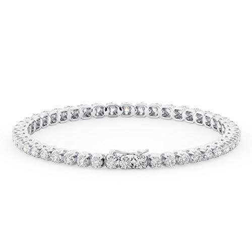 Bracciale tennis in oro bianco 9K con diamanti taglio brillante 2.00 carati.