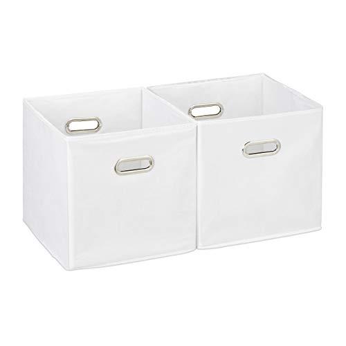 Relaxdays Cajas de almacenaje, Set de dos cestas, Sin tapa, Con asas, Plegable, Cuadrado, 30 cm, Blanco