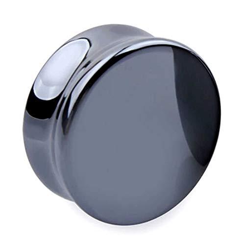 (X) ボディピアス 8G プラグ メンズ ブラック ヘマタイト 埋め込み型 ホール系ピアス シンプル イヤーロブ 天然石 パワーストーン トンネル フレア 丸型 人気