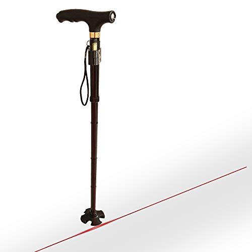 MM-PROGRESS Anti Freeze Parkinson Gehstock mit Laser, Gehhilfe Höhenverstellbar, Klappbar, Vierfuß, Anti-Rutsch-Stecken faltbar mit eingebauter Taschenlampe
