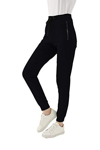 SMENG Jogginghose Damen Loungewear Workout Hosen Stretch Joggpants Stretch Freizeithose Lockere Hosen High Waist Trainingshose Mit Taschen Schwarz M