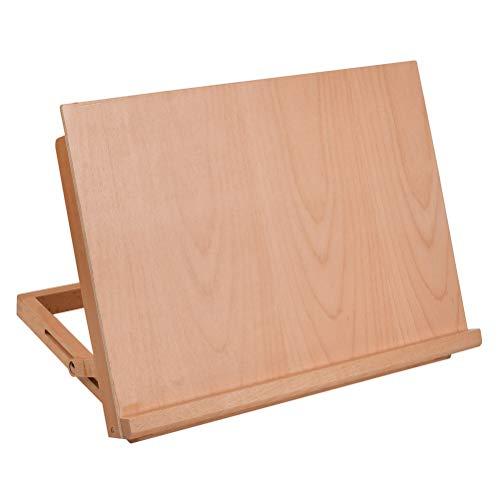 FOCCTS A3 Workstation Zeichenbrett höhenverstellbare Tisch-Staffelei aus Buchenholz für Keilrahmen, Tischpult Zeichenplatte Tischstaffelei zum Skizzieren, Zeichnen und Planen 42 x 32 x 6 cm Staffelei