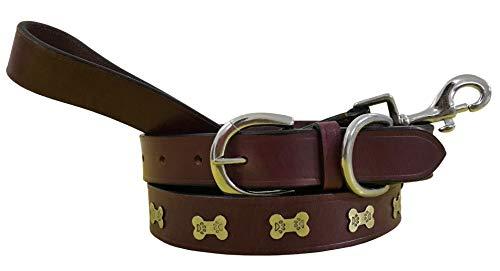 BRADLEY CROMPTON Carlos Diaz Zusammengehöriges Set Aus Gewachstem, Besticktem Polo-Hundehalsband Und Hundeleine, Echtes Leder M