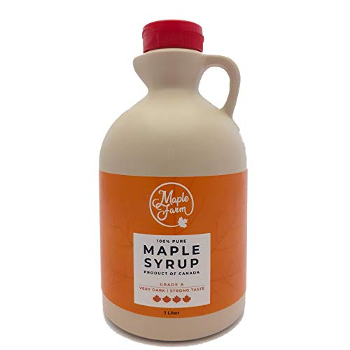 Pur Sirop d'érable Grade A (Very dark, Strong taste) - 1 litre (1,32 Kg) - Original maple syrup - Pur Sirop d'erable