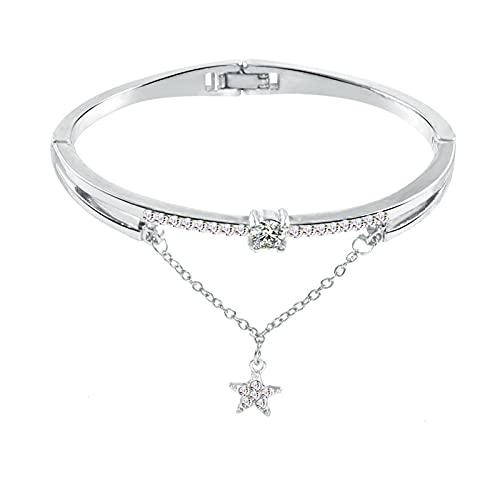 AMTBBK Pulsera De Zircón Grande Rhinestone Bangle Charm Bracelet para Mujer Girls Regalo,Plata