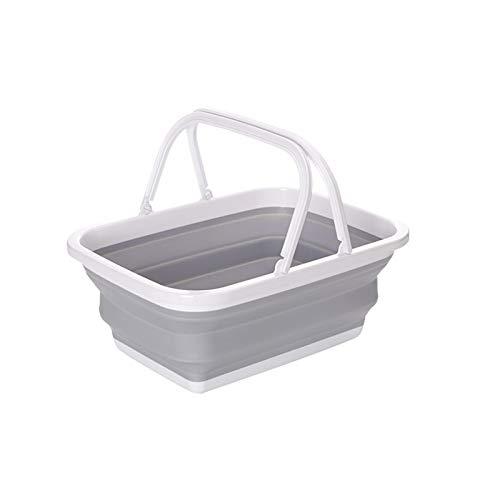 ZECAN Fregaderos plegables, cestas plegables para campamento con mango robusto, portátil, para lavar platos, recipientes de almacenamiento multifunción para exteriores, senderismo, hogar