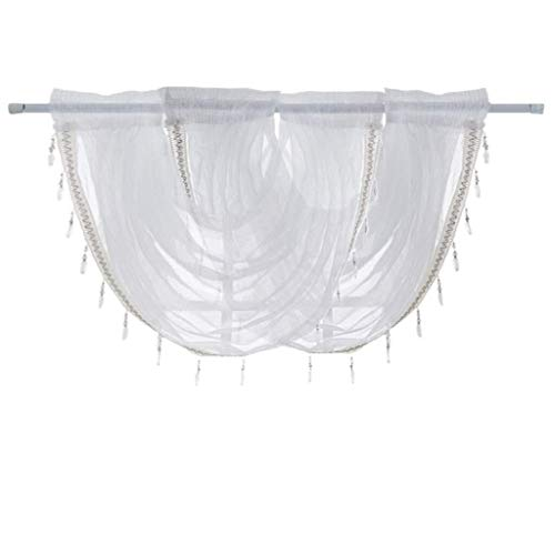 Lcjtaifu Cortina 1/2/3 Panel Cenefa de Ventana Diamante Blanco Transparente Cascada Bordada Cortina de Ventana Cenefa Borla Trim (Color : 2 Panel)
