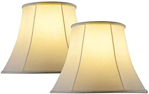 Lamp Shades for Table Lamps Set Of 2,Medium Lampshade Bell Off-White for Bedroom Lamp & Floor Lamp, 8x16x12 inches, Simple Assembly Required, Spider