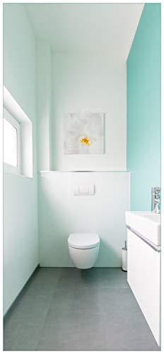 Türtapete Türposter Badezimmer Gästetoilette Innenansicht - WC und Waschbecken - Größe 93 x 205 cm