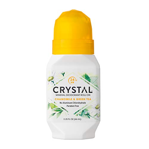CRYSTAL Mineral Deodorant Roll-On- Body Deodorant With 24-Hour Odor Protection, Non-Staining & Non-Sticky Deodorant with Chamomile & Green Tea, Aluminium Chloride & Paraben Free, 2.25 FL OZ