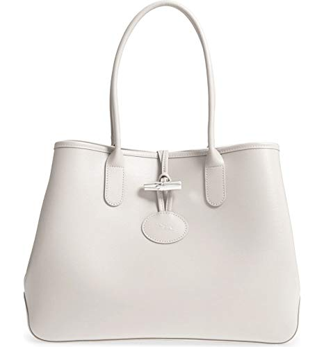 Longchamp Women's Leather Roseau Leather Shoulder Tote Talc