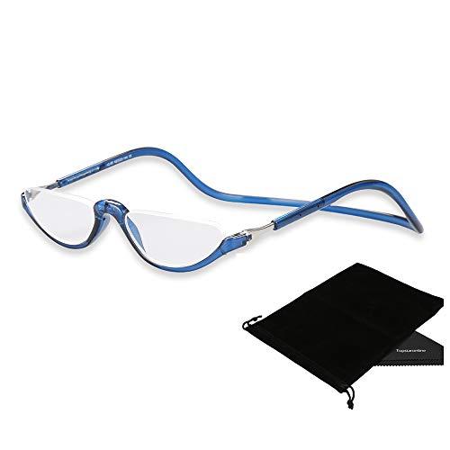 TOPSTARONLINE Flexible Leichtbau verstellbaren Rahmen Lesebrille Halbbrille mit Lesebrille (Blau, 1.50)