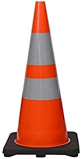 "(Set of 6) CJ Safety 28"" Premium PVC Traffic Safety Cones with Black Base & 6"" + 4"" Reflective Collars (6 Cones)"