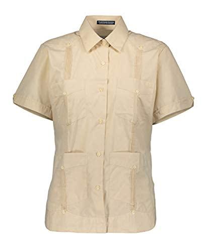AKA Camisa feminina Guayabera sem rugas manga curta linho visual, Preto, X-Large