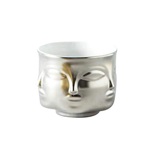 JXJTHPMini bloemenbak, Scandinavische potplant, bloempot, gezicht, vaas, hoofddecoratie, accessoires, keramiek, vaas, vlezige bloemenbeker zilver