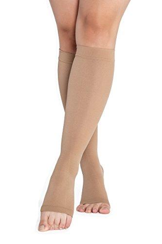 RIEMTEX® Medias de compresión medicinal graduadas, clase 2, CCL2, punta abierta, sin costuras, para hombre y mujer, color beige (talla: 5)