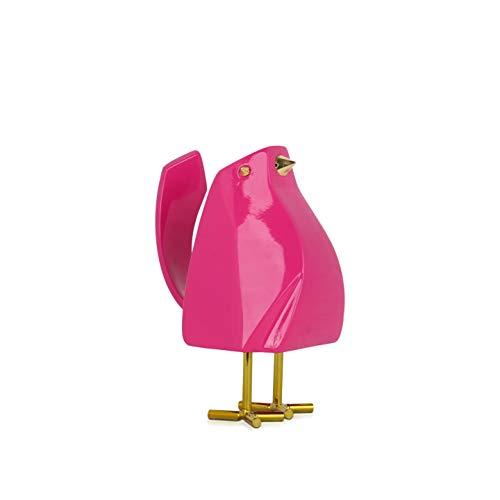 ADM - Magentafarbener Kleiner Vogel - Moderne geometrische Skulptur aus lackiertem Harz mit Metalleinsätzen - Fuxia - H14 cm