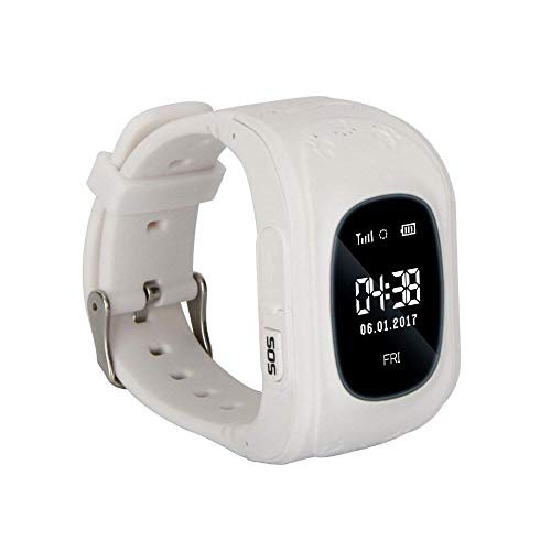 Kinder Smart Watch | Smartwatch| Armbanduhr | GPS, Telefon, Sprachnachrichten, Standortlokalisierung per App, Ortung, Tracker | Kein Handy notwendig - verwendbar mit Micro SIM Karte (White)