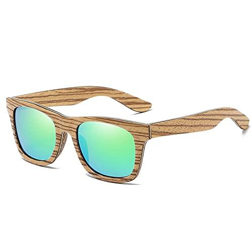 NIUBKLAS Gafas de espejo Gafasde sol de madera hechas a mano Mujeres Hombres Gafas de sol de madera Regalos de bambú Envío de la gota S045 verde