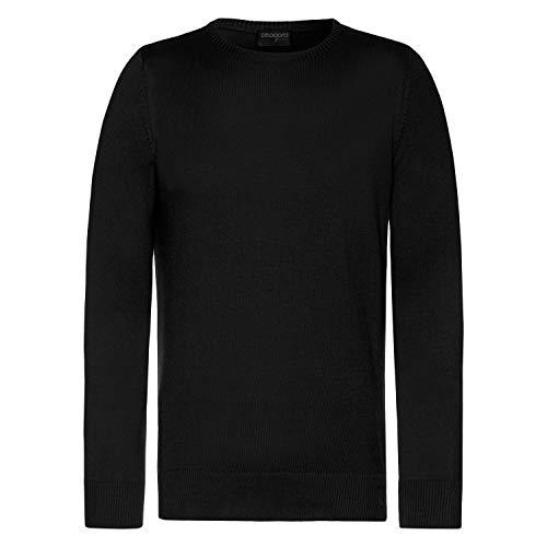 Celodoro Herren Rundhals Pullover, Longsleeve aus Baumwollstrick, Regular Fit - Black XXL