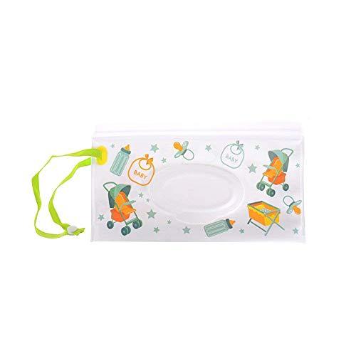 1 paquete de toallitas húmedas para bebé bolsa de viaje recargable portátil dispensador reutilizable bolsa de toallitas de viaje, diseño de dibujos animados