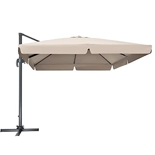TecTake 800661 - Parasol Excéntrico, Sombrilla de Jardín, Aluminio, Protección Solar UV 50+, 3x3 m (Beige   No. 402992)