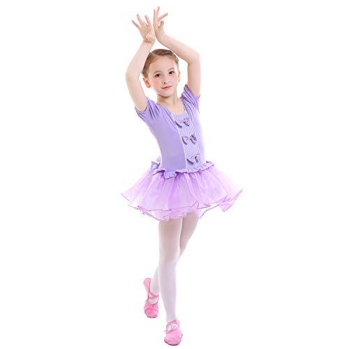 OBEEII Vestido Maillot de Ballet Danza Leotardo Traje de Ballet Princesa Tutu Gimnasia Danza Infantil 002 Morado 3-4 Años